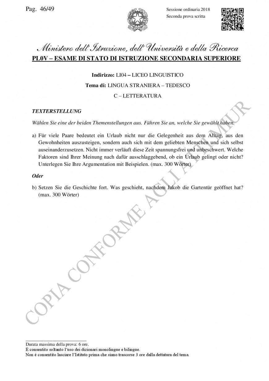 Traccia ufficiale Miur tedesco, seconda prova 2018 liceo linguistico