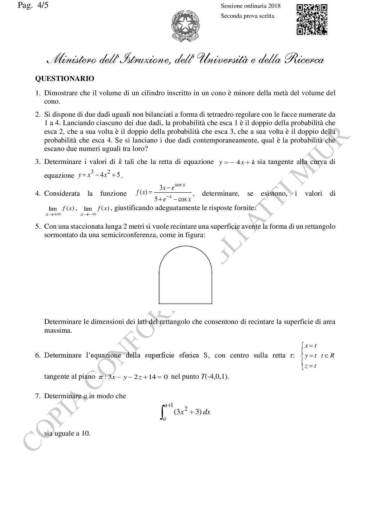 Traccia ufficiale Miur liceo scientifico seconda prova ...