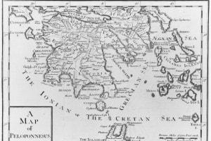 Una mappa della penisola del Peloponneso