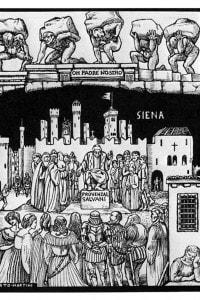 Alberto Martini, canto XI del Purgatorio, 1944 circa - raffigurazione di piazza del Campo a Siena con Provenzal Salvagni