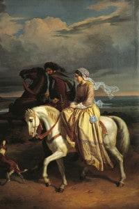 Pia de Tolomei viene portata in Maremma. Dipinto di Pompeo Molmenti (1819-1984)