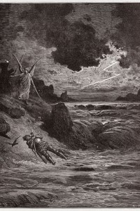Purgatorio Canto V: Il corpo di Bonconte da Montefeltro nell'Arno. Disegno di Gustave Dore (1832-1883)