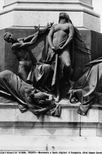 Il Purgatorio, particolare del monumento a Dante Alighieri, di Cesare Zocchi, in Piazza Dante a Trento