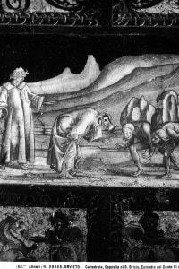 Particolare degli affreschi della Cappella di S. Brizio nel Duomo di Orvieto: l'episodio di Dante e Virgilio e i tre superbi, tratto dal Canto XI del Purgatorio