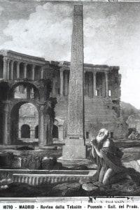 Tela raffigurante le rovine della Tebaide. Opera realizzata da Nicolas Poussin