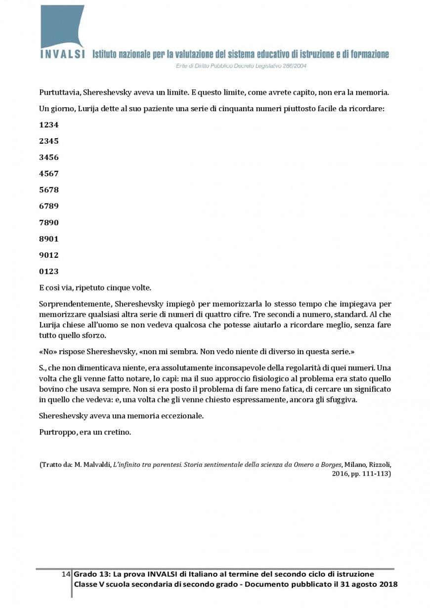 Test Invalsi italiano quinta superiore - esempi