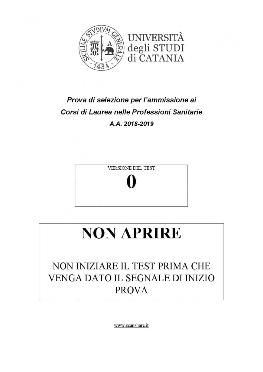 Test Professioni Sanitarie 2018: domande e soluzioni Università di Catania