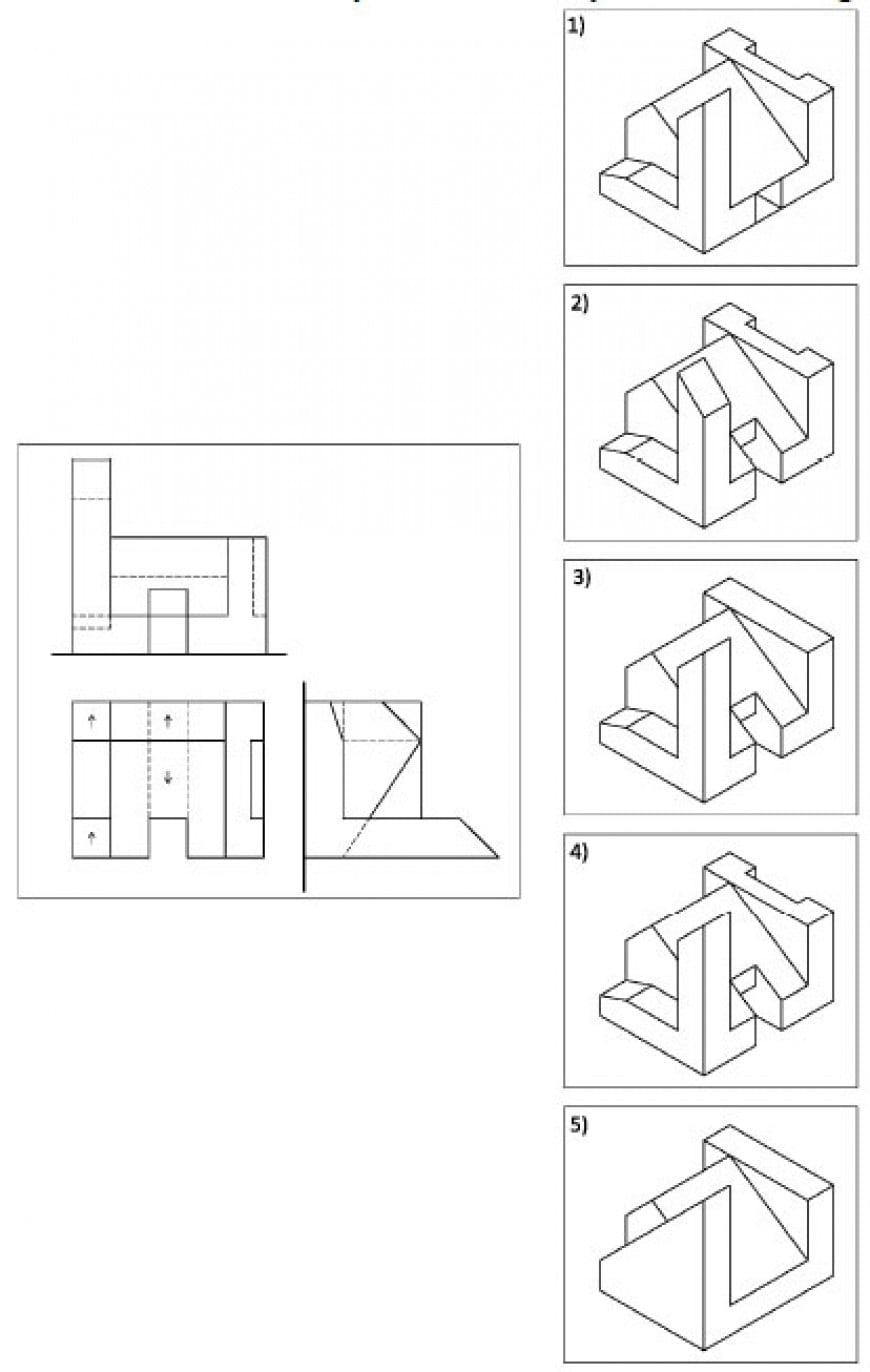 Dato un volume architettonico in proiezioni ortogonali (pianta e prospetti), individuare la assonometria corrispondente alle proiezioni ortogonali date.