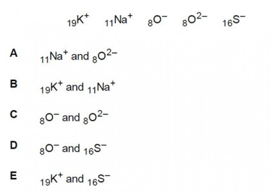Which of the following species have the same number and arrangement of electrons in their lowest energy states?