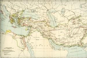 Mappa che mostra l'Impero di Alessandro Magno