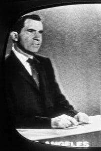 Richard Nixon durante il dibattito televisivo con John F. Kennedy