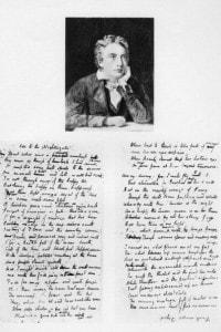 L'illustrazione mostra le prime cinque strofe dell'Ode to a Nightingale di John Keats