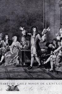"""Molière legge la sua commedia """"Tartufo"""" nella casa di Ninon de Lenclos."""