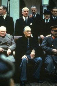 Churchill, Roosevelt e Stalin alla conferenza di Yalta, febbraio 1945