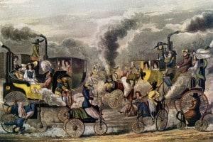 Prima rivoluzione industriale: i carri a vapore in un'illustrazione del 1831
