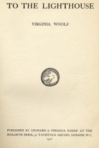 """La prima edizione del romanzo di Virginia Woolf """"To the Lighthouse"""" pubblicato da Leonard e Virginia Woolf alla """"Hogarth Press"""", Londra 1927."""