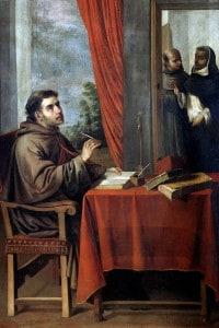 San Bonaventura riceve la visita di San Tommaso d'Aquino. Dipinto di Francisco Zurbaran, XVII secolo