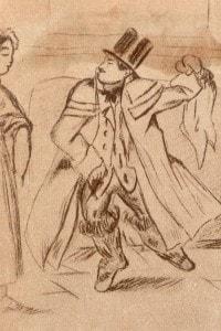 1830, illustrazione di Alfred De Musset che raffigura Stendhal che balla in una locanda al Pont-Saint-Esprit