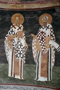 Affresco bizantino che raffigura i padri della chiesa