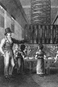 Bambini al lavoro in una fabbrica nel 1820, in piena Rivoluzione industriale