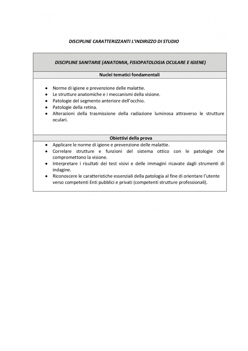 Seconda prova servizi socio-sanitari, articolazione arti ausiliarie delle professioni sanitarie ottico: caratteristiche e argomenti