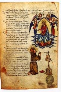 Jacopone da Todi in preghiera dinanzi alla visione della Vergine