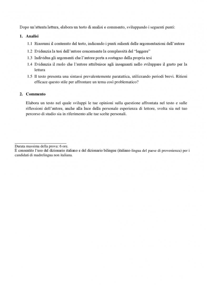 Simulazioni prima prova maturità: esempio Miur traccia testo argomentativo
