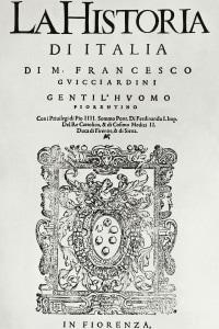 """Frontespizio de """"La Storia d'Italia"""" di Francesco Guicciardini"""