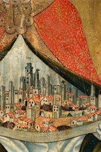 Vista della città di San Gimignano, in Toscana. Dipinto di Taddeto di Bartolo