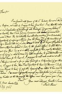 Lettera di David Hume a Richard Davenport con riferimento a una proposta per ottenere una pensione dal governo inglese per Rousseau
