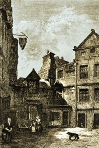 Riddle's Close, Edimburgo: qui, David Hume visse per un po' di tempo. Incisione di Daniel Wilson