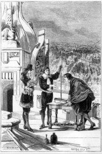 L'immagine mostra Pascal che conduce esperimenti con un barometro a mercurio sulla torre di St Jacques-la-Boucherie, a Parigi