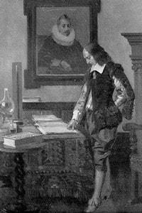 Blaise Pascal al lavoro nella sua casa in rue Beaubourg, Parigi, nel 1652. Illustrazione di René Lelong