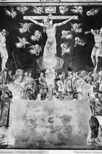 La Crocifissione: affresco di Pietro Lorenzetti (parte delle Storie della Passione di Cristo). Basilica inferiore di San Francesco ad Assisi