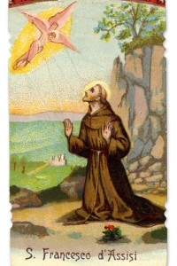 San Francesco d'Assisi riceve le stimmate. Monaco italiano che predicava semplicità, povertà e umiltà davanti a Dio, fondatore dell'ordine francescano.