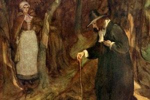 Hester e il Reverendo Dimmesdale: illustrazione di Hugh Thomson per La lettera scarlatta di Hawthorne