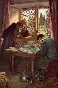 Il Reverendo Dimmesdale e Chillingworth. Illustrazione di Thomson per La Lettera Scarlatta di Hawthorne