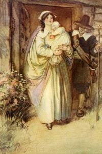 Hester che si mostra davanti alla folla con sua figlia Pearl. Illustrazione di Hugh Thomson per La lettera scarlatta di Hawthorne