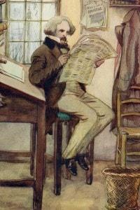 Hawthorne nella dogana: illustrazione di Hugh Thomson per La lettera scarlatta di Hawthorne