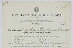 Il certificato di laurea di Dora Klein
