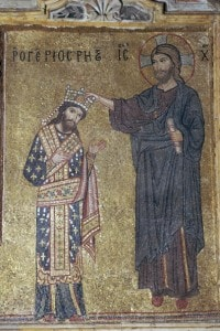 Incoronazione di Ruggero II,  Re di Sicilia. Mosaico, Chiesa della Martorana (Palermo)