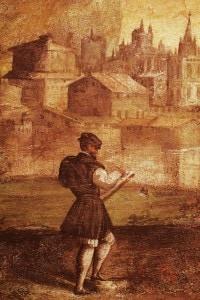 Paesaggio con Matteo Maria Boiardo che scrive il suo poema: dipinto di Nicolò dell'Abate