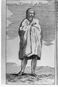 Un indiano Natchez in abiti invernali