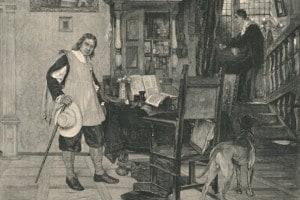 Oliver Cromwell e il cieco poeta John Milton nella sua casa a Chalfont St Giles, nel Buckinghamshire