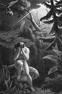 """Adamo dopo il peccato originale, incisione di Flatters per """"Il paradiso perduto"""" di Milton"""