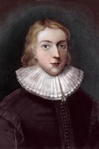 John Milton all'età di 21 anni. Incisione di Vertue