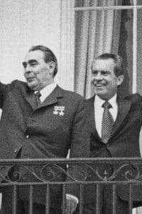 Il leader russo Breznev e il presidente degli Stati Uniti Nixon