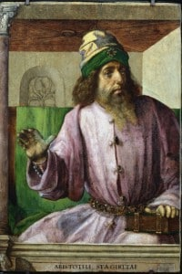 Aristotele (384 a.C.-322 a.C.): filosofo e scienziato greco antico. Opera di Pedro Berruguete