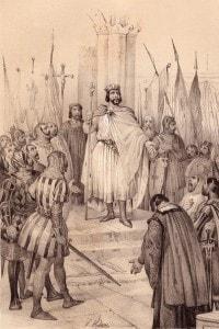L'incoronazione del re di Francia, Ugo Capeto, a Noyon il 3 luglio del 987