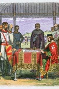 Re Giovanni Senzaterra (1166-1216) firma la Magna Charta con l'arcivescovo Stephen Langton e i baroni nel 1215